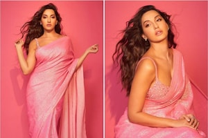 Nora Fatehi Oozes Oomph In Pink Sequinned Saree With Embellished Blouse, See Her Sultry Photos
