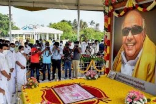 File Photo: Tamil Nadu Chief Minister MK Stalin pays tribute to his father M Karunanidhi, on his 98th birth anniversary at his memorial at Marina beach, in Chennai, on June 3, 2021. (PTI Photo)