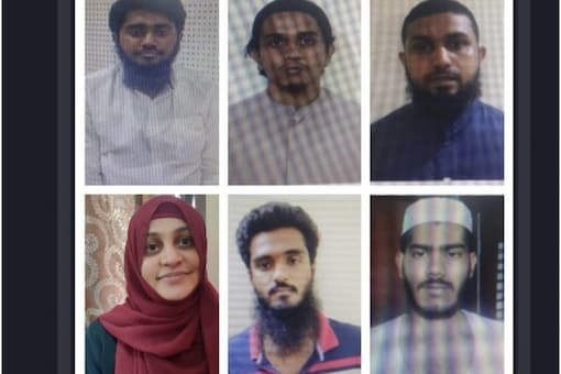 (From left clockwise) Mohammad Ameen, Mushab Anuvar and Dr Rahees Rashid were arrested in March, and Madesh Shankar, Mohammad Ammar and Deepthi Marla were among the five detained on Wednesday.