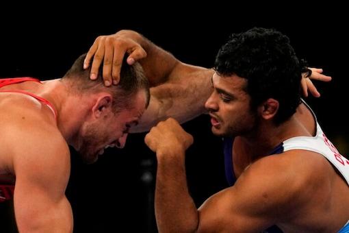 Indian wrestler Deepak Punia in action at Tokyo 2020 (AP)