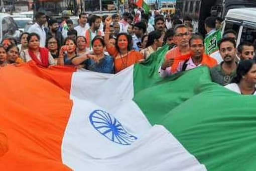 BJP supporters celebrate the central government's move to revoke Article 370 in Jammu and Kashmir. (File photo: PTI)