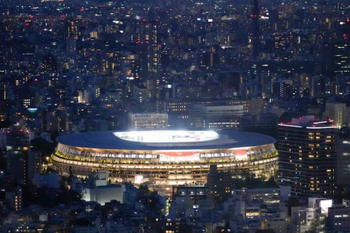 Fireworks illuminate over National Stadium during the closing ceremony of the 2020 Tokyo Olympics (AP)