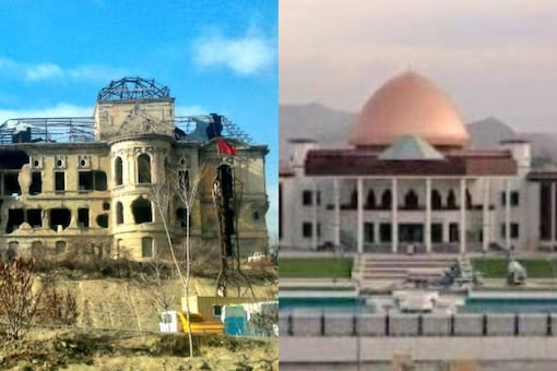 (Left) The Dar ul Aman palace bombed by Taliban and (right) The new Parliament building. (Twitter/@MEAIndia)