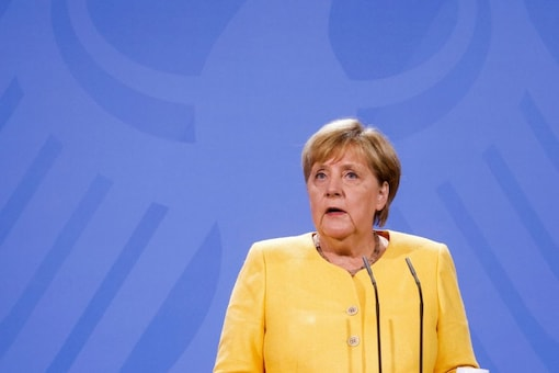 German Chancellor Angela Merkel speaks during a news conference on the current developments in Afghanistan, at the Chancellery in Berlin, Germany August 16, 2021. (Reuters)