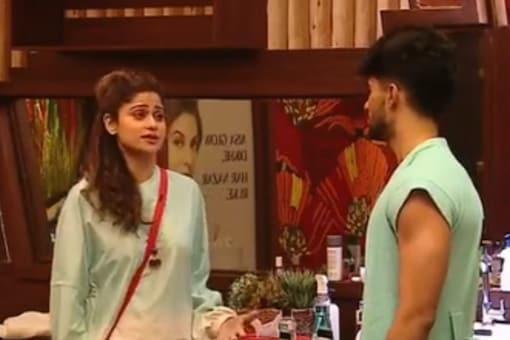A glimpse of Shamita Shetty and Zeeshan Khan in Bigg Boss OTT house.
