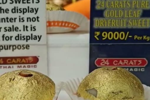 The 24-carat sweet shop located in the Ghoddod Road area of Surat. (Image Credits: News18)