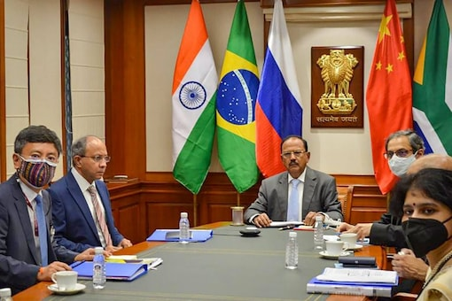 New Delhi: Indian NSA Ajit Doval and other officials during a virtual meeting of BRICS NSAs, in New Delhi, Tuesday, Aug 24, 2021. The meeting is attended by Russian NSA General Patrushev, Chinese Politburo Member Yang Jeichi, and Brazilian counterparts General Augusto Helena Ribeiro Pereira and South African Deputy Minister of State Security Ncediso Goodenough Kodwa. (PTI Photo)