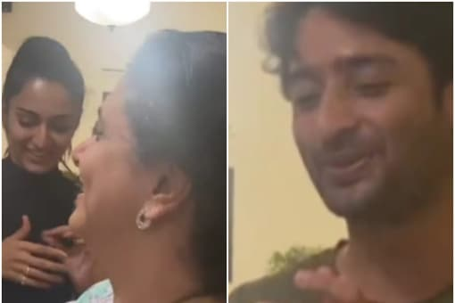 Shaheer Sheikh (L) shared a video on social media in which he celebrates Supriya Pilgaonkar's birthday with Erica Fernandes