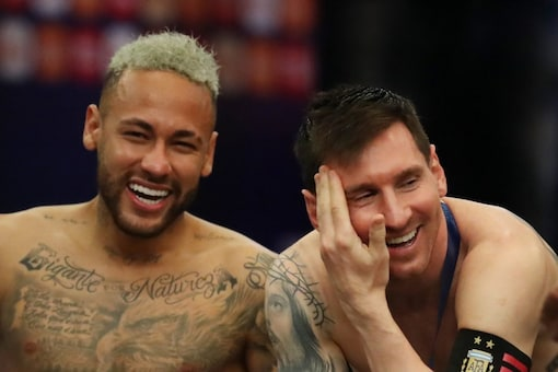Lionel Messi (R) and Neymar reunited at PSG. (Reuters Photo)