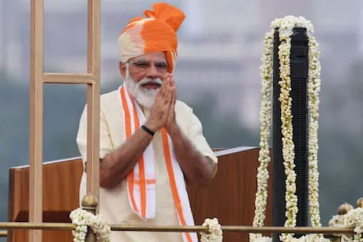 Prime Minister Narendra Modi during his Independence Day speech in 2020. (Image: News18)