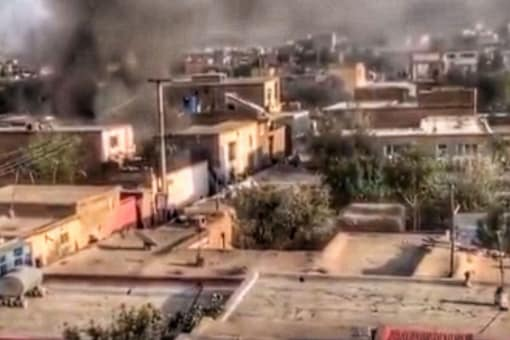 Screengrab from a video of the second Kabul blast that reportedly hit a home. (Twitter)