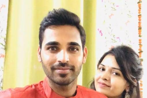 Bhuvneshwar Kumar and his wife Nupur.
