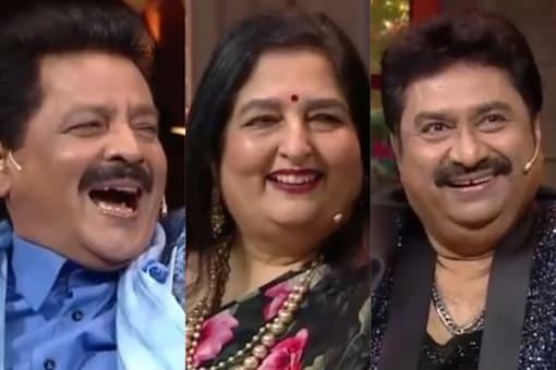 Udit Narayan, Anuradha Paudwal and Kumar Sanu in The Kapil Sharma Show