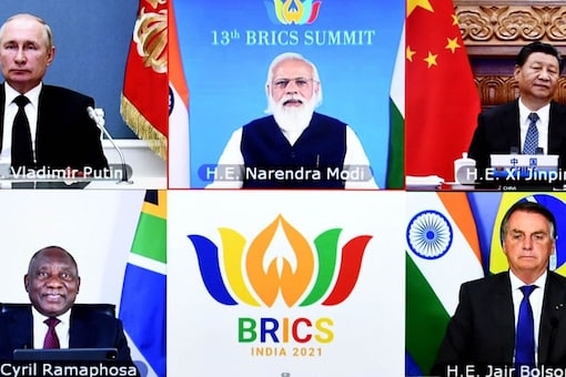 The New Delhi Declaration was adopted in the 13th BRICS summit hosted by India on September 9,2021. (Image: @MEAIndia/Twitter)