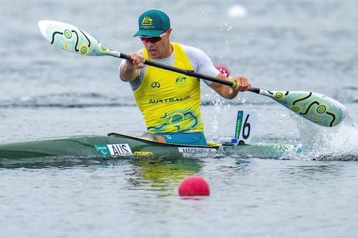 Curtis McGrath on his way to winning the Men's Kayak Single 200m KL2 Canoe Sprint Final gold (AP)