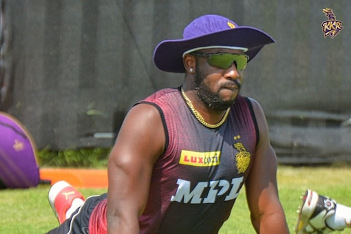 Andre Russell trains with KKR squad in UAE.