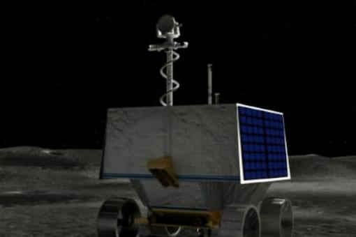This handout illustration courtesy of NASA shows NASA's Volatiles Investigating Polar Exploration Rover (VIPER) on the surface of the moon. ( Credits: AFP)