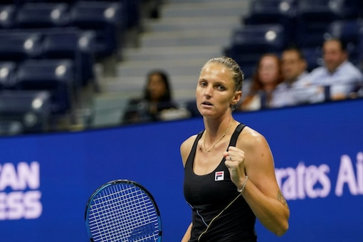 Karolina Pliskova reacts after winning a point against Amanda Anisimova (AP)