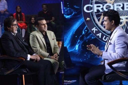 Sourav Ganguly, Virender Sehwag and Amitabh Bachchan on the sets of Kaun Banega Crorepati 13.