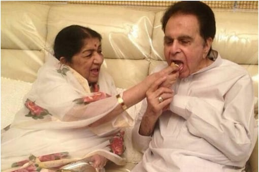 The nightingale of India, Lata Mangeshkar with Dilip Kumar in this file pic. (Image: Instagram)