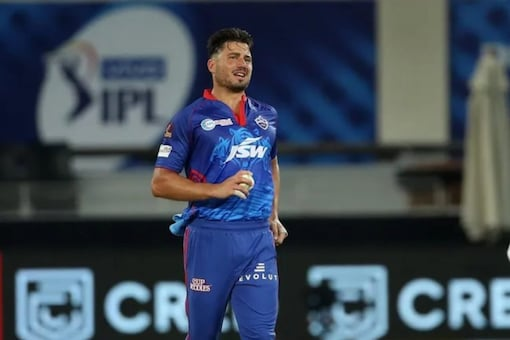 Marcus Stoinis injured his hamstring vs SRH. (BCCI Photo)