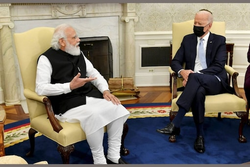 Prime Minister Narendra Modi with US President Joe Biden meets  in the Oval Office of the White House, Friday, Sept. 24, 2021, in Washington. (PTI Photo)