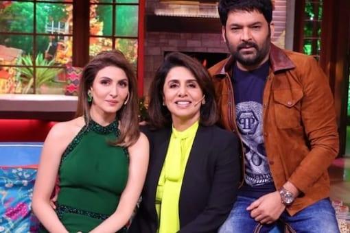 Neetu Kapoor, Riddhima Kapoor Sahni and Kapil Sharma on the sets of The Kapil Sharma Show.