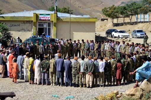 Militiamen loyal to Ahmad Massoud, son of the late Ahmad Shah Massoud, take part in a training exercise, in Panjshir province, northeastern Afghanistan, Monday, Aug. 30, 2021.(AP Photo/Jalaluddin Sekandar)
