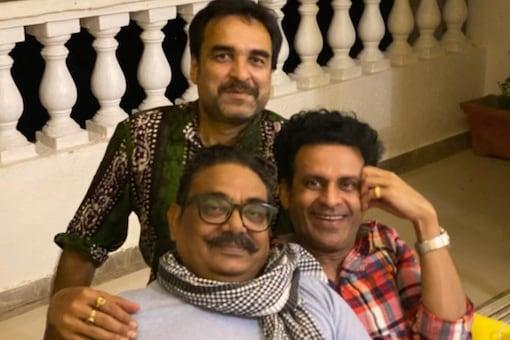 Pankaj Tripathi and Manoj Bajpayee along with their common friend and actor Vineet Kumar.