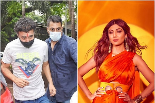 Raj Kundra (L) wals out of jail after 62 days in custody, Shilpa Shetty (R)
