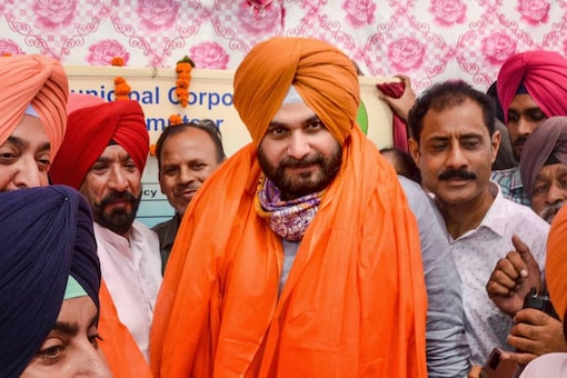 Then Punjab Congress President Navjot Singh Sidhu during his visit to inaugurate the development work in Amritsar, on August 12, 2021. (PTI Photo)