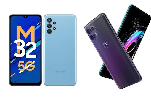 Five smartphones with 5000mAh battery in India. (Samsung Galaxy M32 5G and Motorola Edge Fusion picture above)