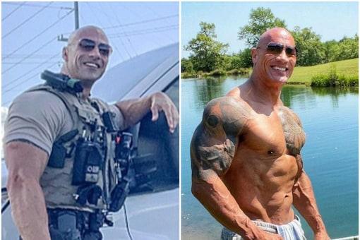 Eric Fields (L) looks similar to Hollywood star Dwayne 'The Rock' Johnson