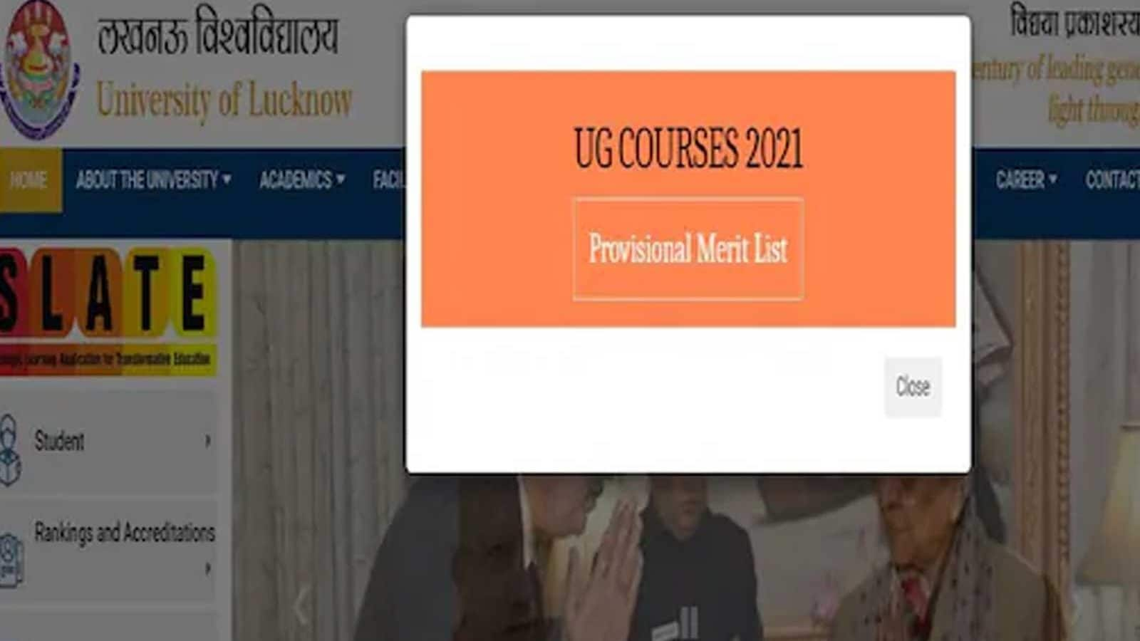 Lucknow University Admission 2021: Provisional Merit List for UG Seats Released