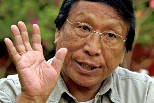 Thuingaleng Muivah, general secretary of the National Socialist Council of Nagaland (NSCN I-M), speaks during an interview with Reuters in New Delhi March 15, 2005.