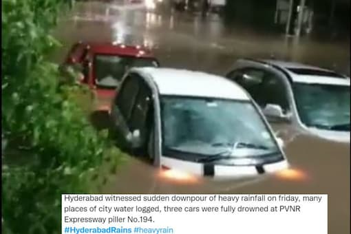 Roads and the low-lying areas are inundated with water after the spell. (Credits: Twitter/@jsuryareddy67)