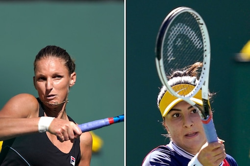 Karolina Pliskova (L) and Bianca Andreescu were ousted from Indian Wells. (AP Photo)