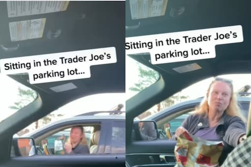 The TikTok video created by @andymcentire was shared as Instagram Reel by Next Door showed a man sitting inside his car at the parking lot outside American grocery store Trader Joe's in the United States.(Credits: Instagram)