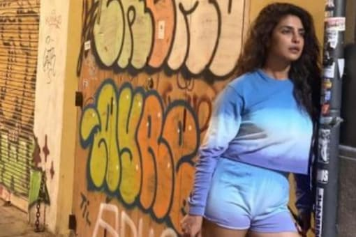 Global star Priyanka Chopra Jonas can be seen standing against a wall with a lost gaze in the picture.