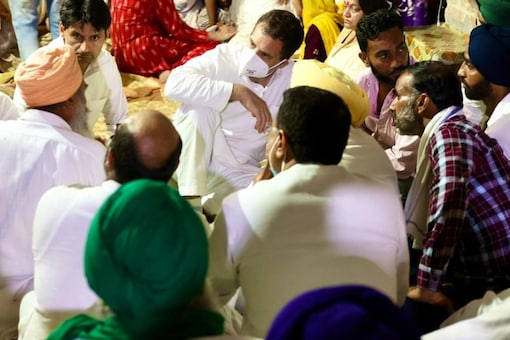 Congress leader Rahul Gandhi meets families of the farmers killed in the Lakhimpur Kheri incident, on October 6, 2021. (Twitter/@INCIndia)