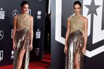 Gal Gadot Stuns in Thigh-High Slit Dress at Justice League Premiere