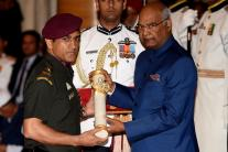 President Kovind Honours MS Dhoni with Padma Bhushan Award
