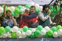 AAP celebrates party's excellent show in Delhi elections