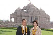South Korean President Moon Jae-in Visits Akshardham Temple