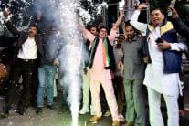 Congress Workers Celebrate Party's Poll Performance
