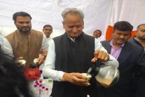 PICS: Congress Leader Ashok Gehlot Serves Tea to Supporters
