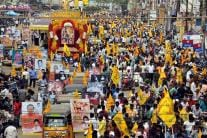 Fans Frenzy Outside Theatres as NTR Kathanayakudu Releases