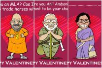 Congress Mocks BJP Leaders in Valentine's Day Caricatures