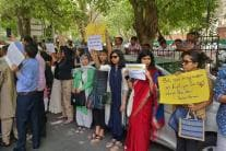 Protest Erupts Outside SC Against Clean Chit to CJI in Sexual Harassment Case