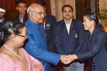 President Ram Nath Kovind Felicitates Commonwealth Games Medal Winners